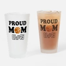 Cool Basketball Mom of number 25 Drinking Glass