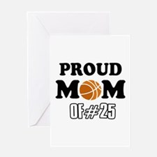 Cool Basketball Mom of number 25 Greeting Card