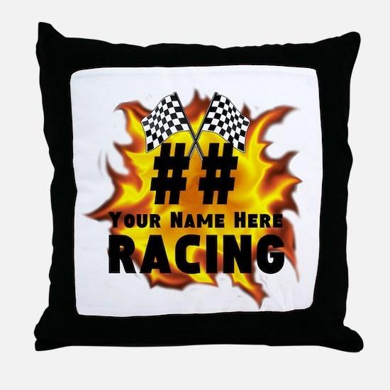 Flaming Racing Throw Pillow