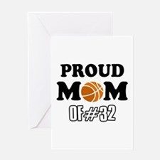 Cool Basketball Mom of number 32 Greeting Card