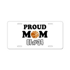 Cool Basketball Mom of number 34 Aluminum License
