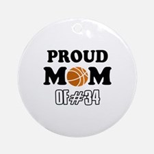 Cool Basketball Mom of number 34 Ornament (Round)