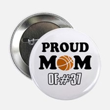 """Cool Basketball Mom of number 37 2.25"""" Button"""