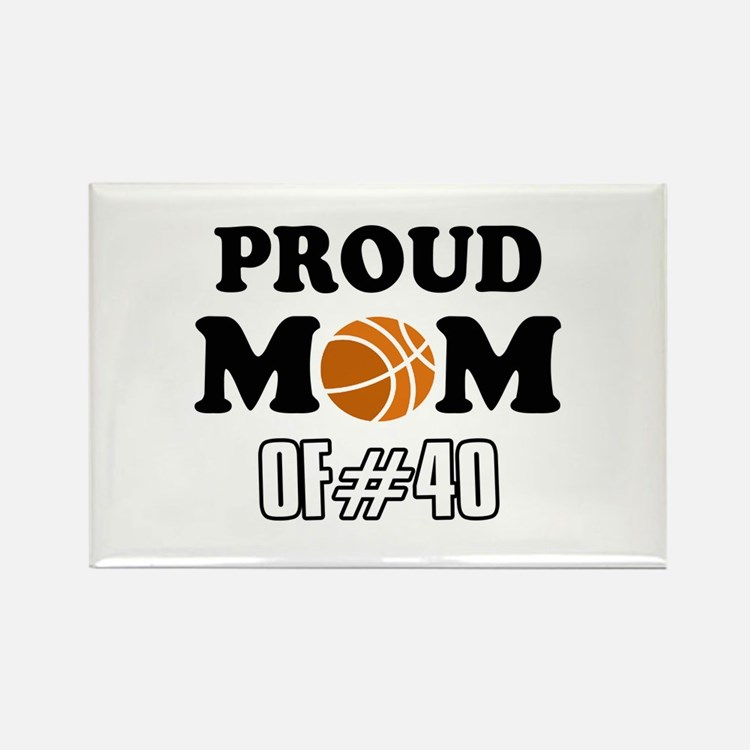 Cool Basketball Mom of number 40 Rectangle Magnet
