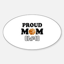Cool Basketball Mom of number 40 Sticker (Oval)