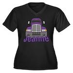 Trucker Jeanne Women's Plus Size V-Neck Dark T-Shi