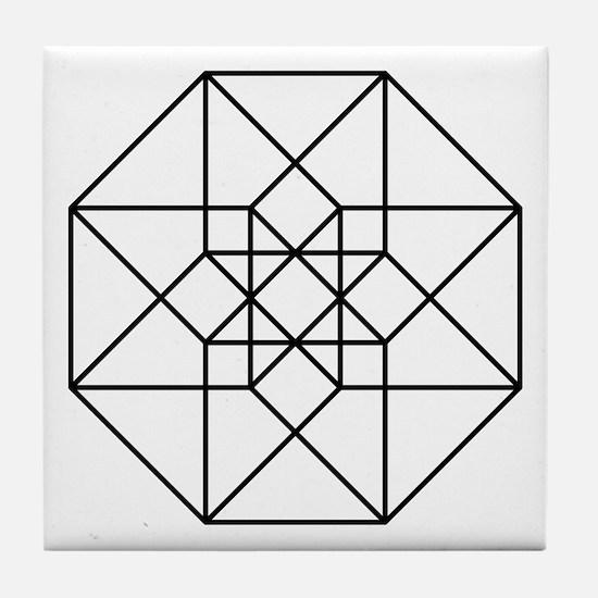Geometrical Tesseract Tile Coaster