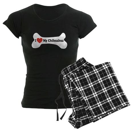 I Love My Chihuahua - Dog Bone Women's Dark Pajama
