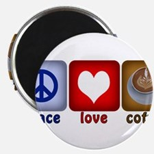 """PeaceLoveCoffee-Sideways.PNG 2.25"""" Magnet (100 pac"""