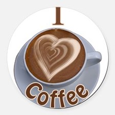 ILoveCoffeeCup.PNG Round Car Magnet