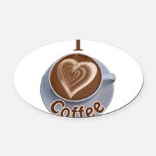ILoveCoffeeCup.PNG Oval Car Magnet