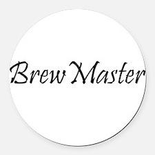 BrewMasterFilledBlack.png Round Car Magnet