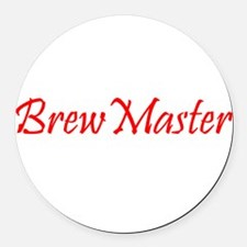 BrewMasterFilledRed.png Round Car Magnet