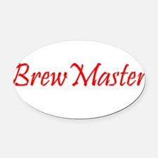 BrewMasterFilledRed.png Oval Car Magnet