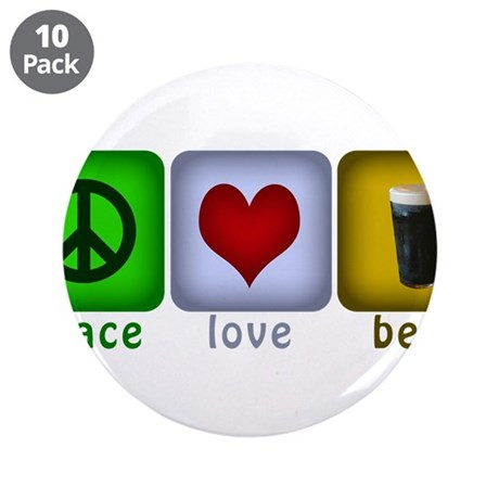 """PeaceLoveBeer.png 3.5"""" Button (10 pack)"""