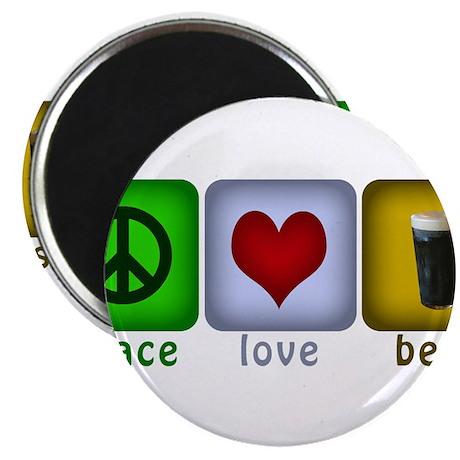 """PeaceLoveBeer.png 2.25"""" Magnet (100 pack)"""