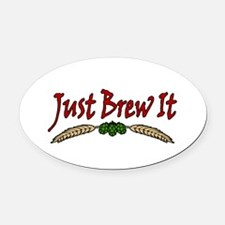 JustBrewIt-White Oval Car Magnet