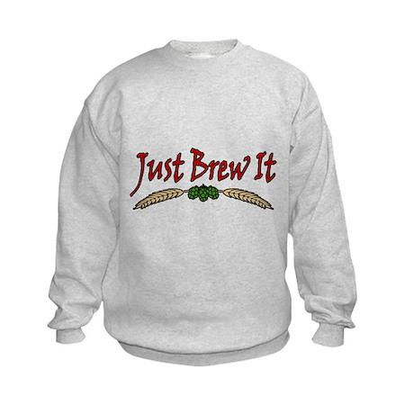JustBrewIt-White Kids Sweatshirt