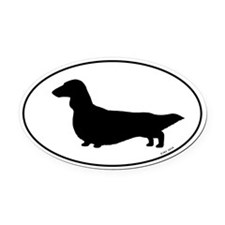 Long Haired Dachshund Oval Car Magnet