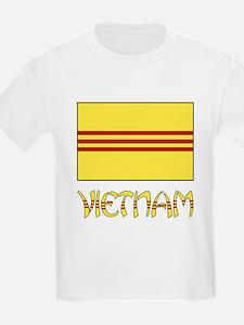 S. Vietnam Flag & Name Black T-Shirt