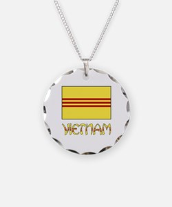 S. Vietnam Flag & Name Black Necklace
