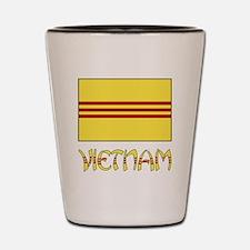 S. Vietnam Flag & Name Black Shot Glass
