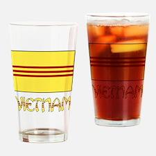 S. Vietnam Flag & Name Black Drinking Glass