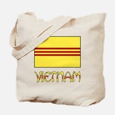 S. Vietnam Flag & Name Black Tote Bag