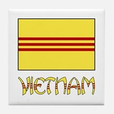 S. Vietnam Flag & Name Black Tile Coaster