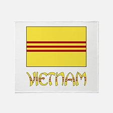 S. Vietnam Flag & Name Black Throw Blanket