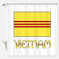 S. Vietnam Flag & Name Black Shower Curtain