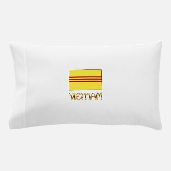 S. Vietnam Flag & Name Black Pillow Case