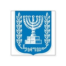 "Israel Coat Of Arms Square Sticker 3"" x 3"""