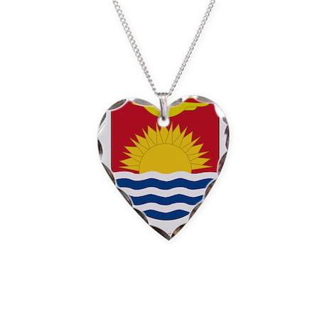 Kiribati Coat Of Arms Necklace Heart Charm