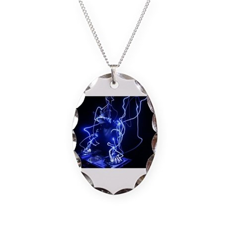Hey DJ decks.jpg Necklace Oval Charm