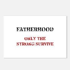 Fatherhood Survive Black Postcards (Package of 8)