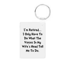 Retired Wife Voices Black Keychains