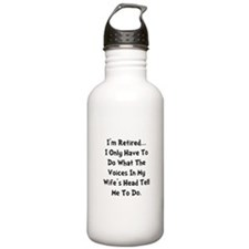 Retired Wife Voices Black Water Bottle