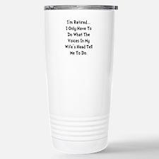 Retired Wife Voices Black Travel Mug