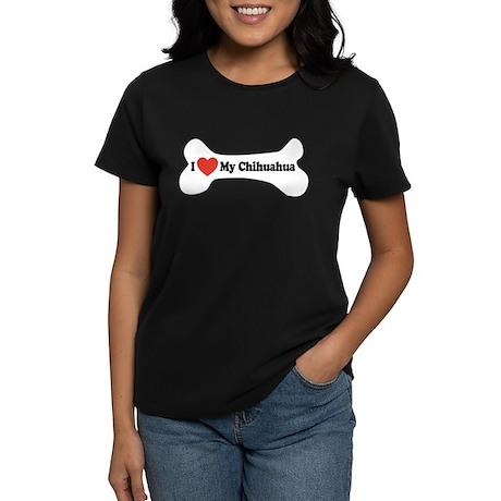 I Love My Chihuahua - Dog Bone Women's Dark T-Shir