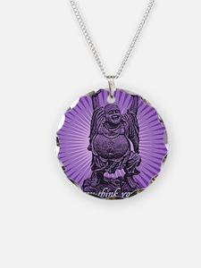 Buddha Smiles Necklace Circle Charm