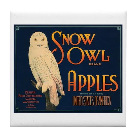 Snow Owl Apples Fruit Crate Tile Coaster