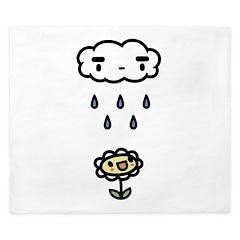 Cloud Raining On Happy Flower King Duvet