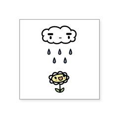 Cloud Raining On Happy Flower Square Sticker 3