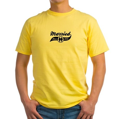 Married Since 2008 (Female) Yellow T-Shirt