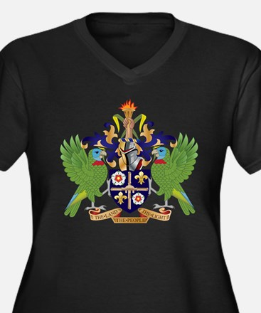 Saint Lucia Coat Of Arms Women's Plus Size V-Neck