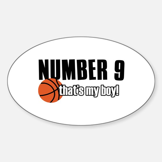 Basketball Parent Of Number 9 Sticker (Oval)