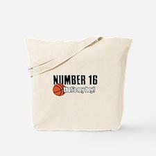 Basketball Parent Of Number 16 Tote Bag