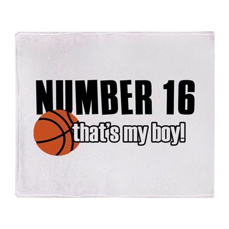 Basketball Parent Of Number 16 Throw Blanket
