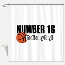 Basketball Parent Of Number 16 Shower Curtain